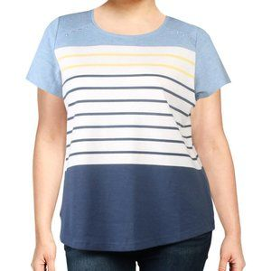 Karen Scott Striped Grommet-Detail T-Shirt
